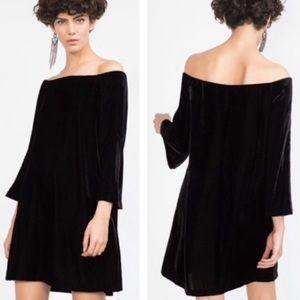 Zara Off The Shoulder Velvet Black Dress